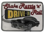 Shake Rattle n Roll Belt Buckle with display stand